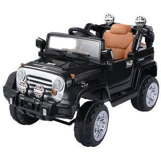 costway 12v mp3 kids ride on truck jeep car rc remote control w led lights