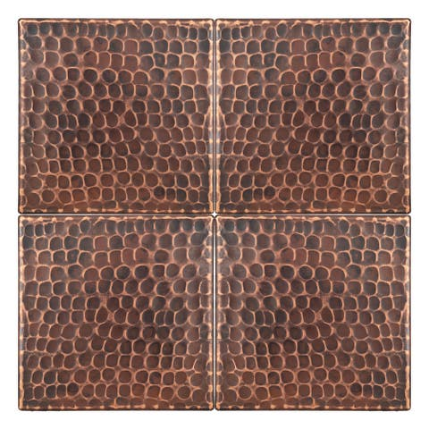 Premier Copper Products T4DBH_PKG4 4-inch x 4-inch Hammered Copper Tile - Quantity 4
