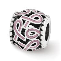 Sterling Silver Reflections Pink Enamel Awareness Filigree Bead (4mm Diameter Hole)