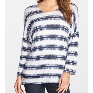 Two by Vince Camuto NEW Blue Striped Women's Size XL Crewneck Sweater