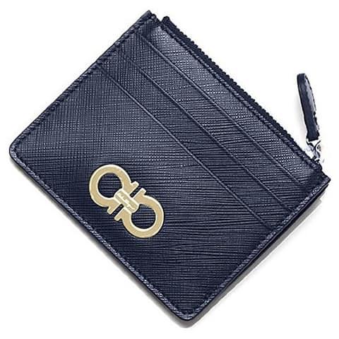 Salvatore Ferragamo Blue Saffiano Leather Card Case Wallet - S