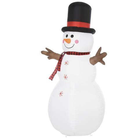 HOMCOM 6ft Tall Giant Outdoor Indoor Inflatable Snowman Christmas Decoration for Lawn with Hat Scarf LED Lights