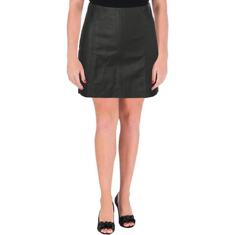 Free People Womens Mini Skirt Textured Faux Leather