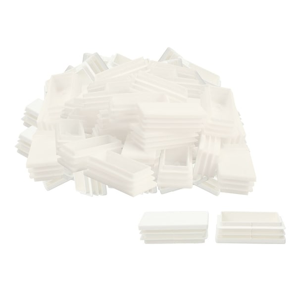 60pcs 30 x 60mm Plastic Rectangle Ribbed Tube Inserts End Cover Cap Furniture Glide Sofa Floor Protector