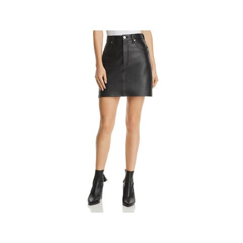 Rag & Bone Womens Mini Skirt Lambskin Leather Coated - 25