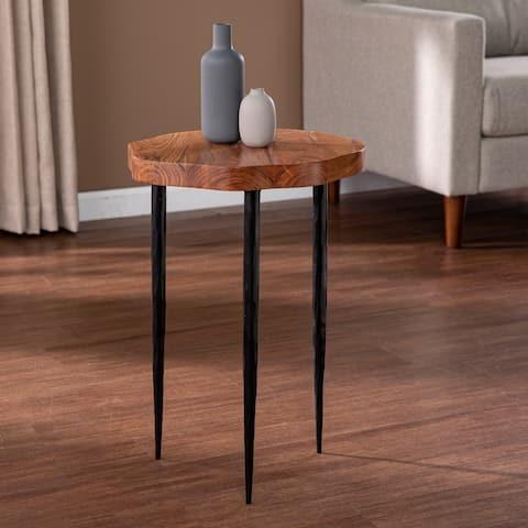 Carbon Loft Whelan Round Accent Table, Brown/Black