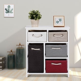 Gymax Nightstands Storage Drawer Unit 5 Woven Basket Cabinet Chest Bedside Side Table - as pic