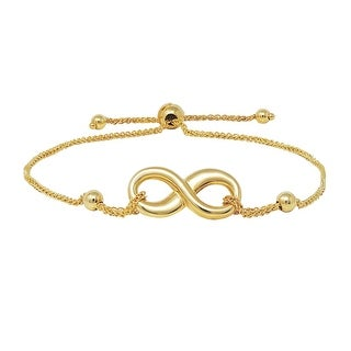 Amanda Rose Infinity Knot Bolo Bracelet in 14k Yellow Gold (Adjustable)