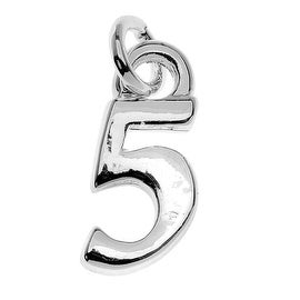 Silver Plated Lightweight Charm, Small Number 5 11.3x5x1.5mm, 1 Piece, Silver
