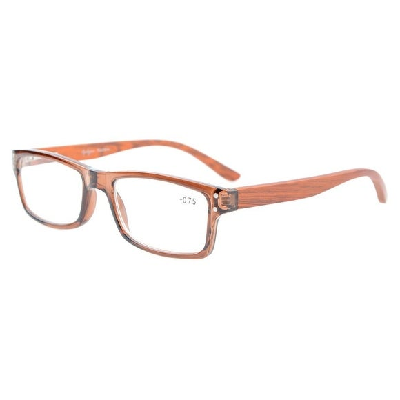 Eyekepper Quality Spring Hinges Wood Arms Mens Womens Reading Glasses Brown Frame +4.0