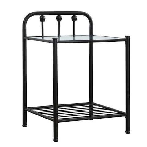 Metal Nightstand with Glass Top and Slated Open Bottom Shelf, Black