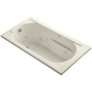 """Kohler K-1357-H Devonshire Collection 60"""" Drop In Jetted Whirlpool Bath Tub with Reversible Drain"""