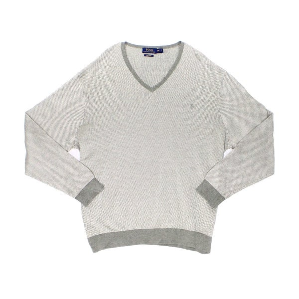 Polo Ralph Lauren NEW Gray Mens Large L V-Neck Herringbone Sweater