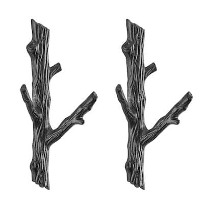 Danya B. Cast Iron Tree Branch Double Wall Mount Coat Hooks (Set of 2)