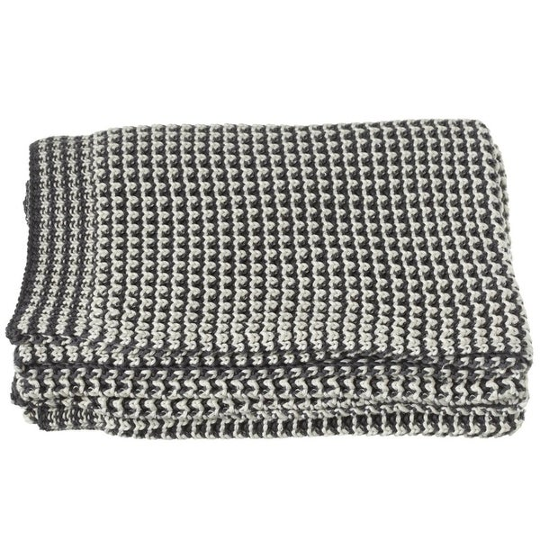 "Gray and Cream White Hounds-tooth Knitted Rectangular Throw Blanket 50"" x 60"""