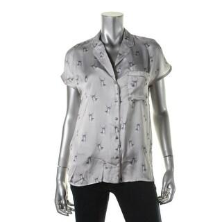 Zara Basic Womens Satin Printed Button-Down Top