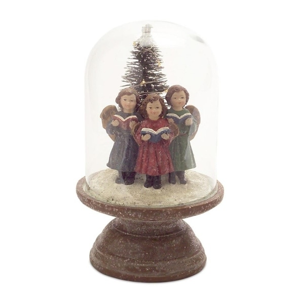 Pack of 2 LED Singing Children Figurines Under Glass Dome - multi