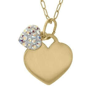 Crystaluxe Girl's Heart Pendant with Swarovski Elements Crystals in 14K Gold-Plated Sterling Silver - Multi-C
