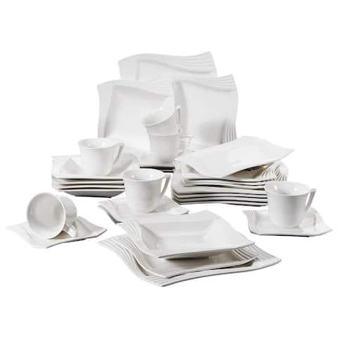 MALACASA Amparo 30-Piece Porcelain Dinnerware Set (Service for 6)