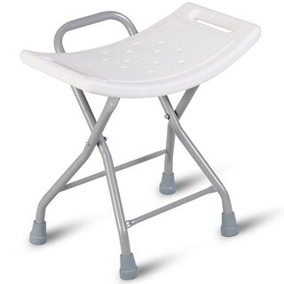 Gymax Folding Shower Chair Medical Bath Bench Bathtub Stool Seat Heavy Duty Non-slip