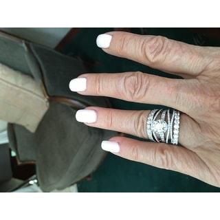 14K White Gold 1.40 cttw. Round Cut Shared Prong Diamond Eternity Wedding Ring HI,SI1-2