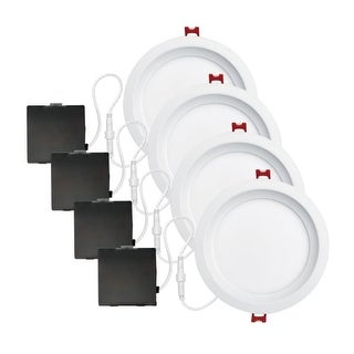 """Globe Electric 91226 Set of 4 Ultra Slim 6"""" Integrated LED Recessed Lighting - D - White"""