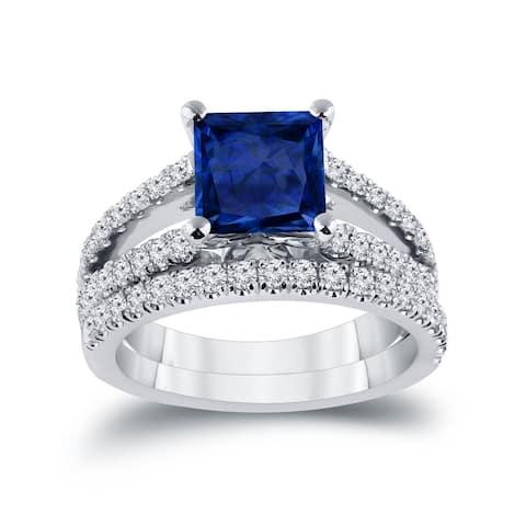 Auriya 2ctw Princess-cut Blue Sapphire and Diamond Engagement Ring 3/4ctw 14k Gold