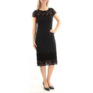 Womens Black Short Sleeve Below The Knee Sheath Cocktail Dress Size: 6