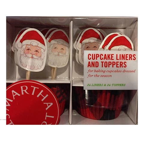 Martha Stewart Collection Santa Cupcake Liners Toppers - Red - Small