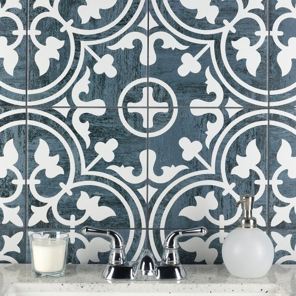 """SomerTile Cassis Arte Black Night 9.75"""" x 9.75"""" Porcelain Floor and Wall Tile. Opens flyout."""