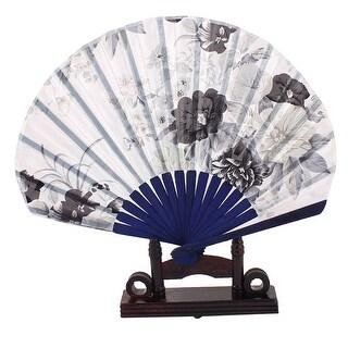 Bamboo Wedding Party Floral Folding Hand Fan Dark Blue w Display Holder