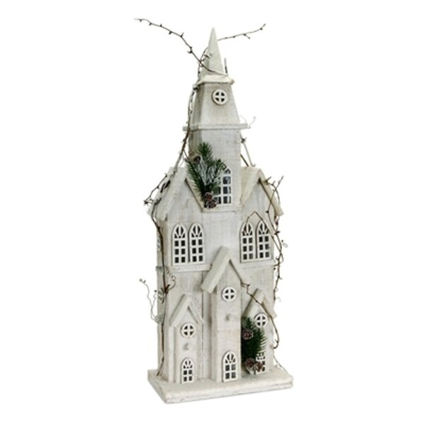 "Pack of 2 Pre-Lit Church with Artificial Pine and Twigs Christmas Tabletops 27"" - WHITE"