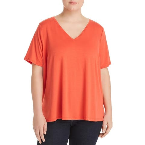 Eileen Fisher Womens Plus T-Shirt V-Neck Pullover - Red
