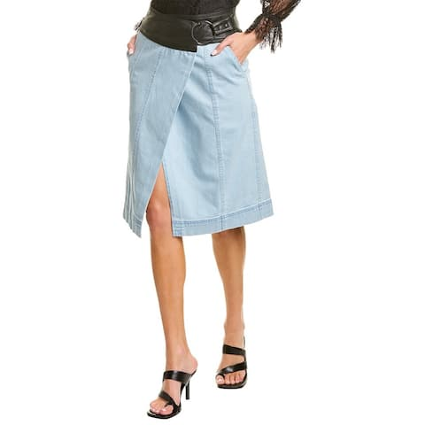 Tanya Taylor Agnes Leather-Trim Wrap Skirt