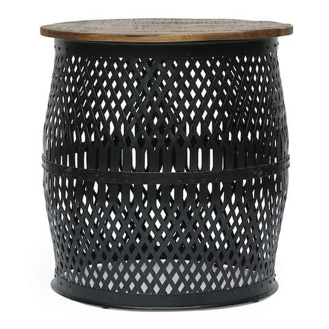 "Niver Modern Industrial Handcrafted Mango Wood Lace Cut Side Table by Christopher Knight Home - 22.00"" L x 22.00"" W x 23.50"" H"