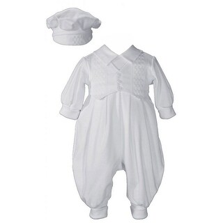Baby Boys White Cotton Long Sleeves Hat Christening Coverall