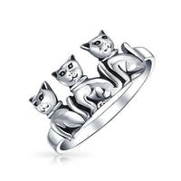 Bling Jewelry Three Sitting Cats Antiqued Sterling Silver Animal Ring