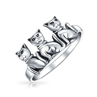 BFF Three Best Friends Family Kitten Cat Ring Band 925 Sterling Silver