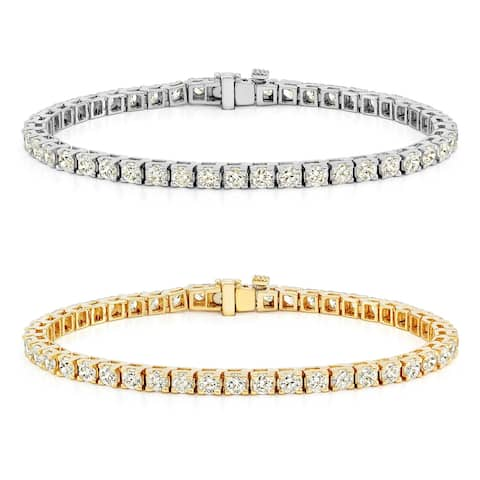Auriya 14k Gold Round Diamond Tennis Bracelet 1 1/2 to 12ctw 7-inch