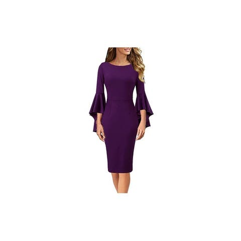 Haute Edition Women's Bell Sleeves Cocktail Party Dress