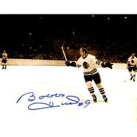 Bobby Hull Chicago Blackhawks BW Stick Raised 8x10 Photo