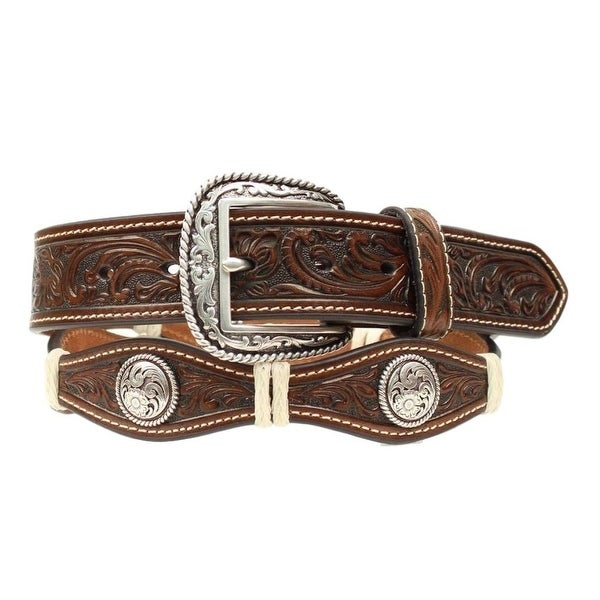Ariat Western Belt Mens Scallop Floral Conchos Brown