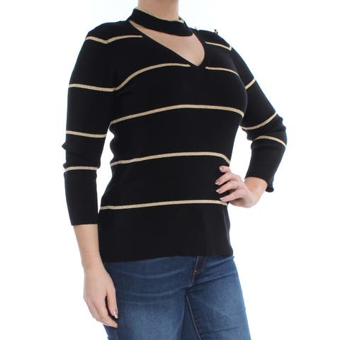 RALPH LAUREN Womens Gold Cut Out Ribbed Striped 3/4 Sleeve V Neck Top Size: L