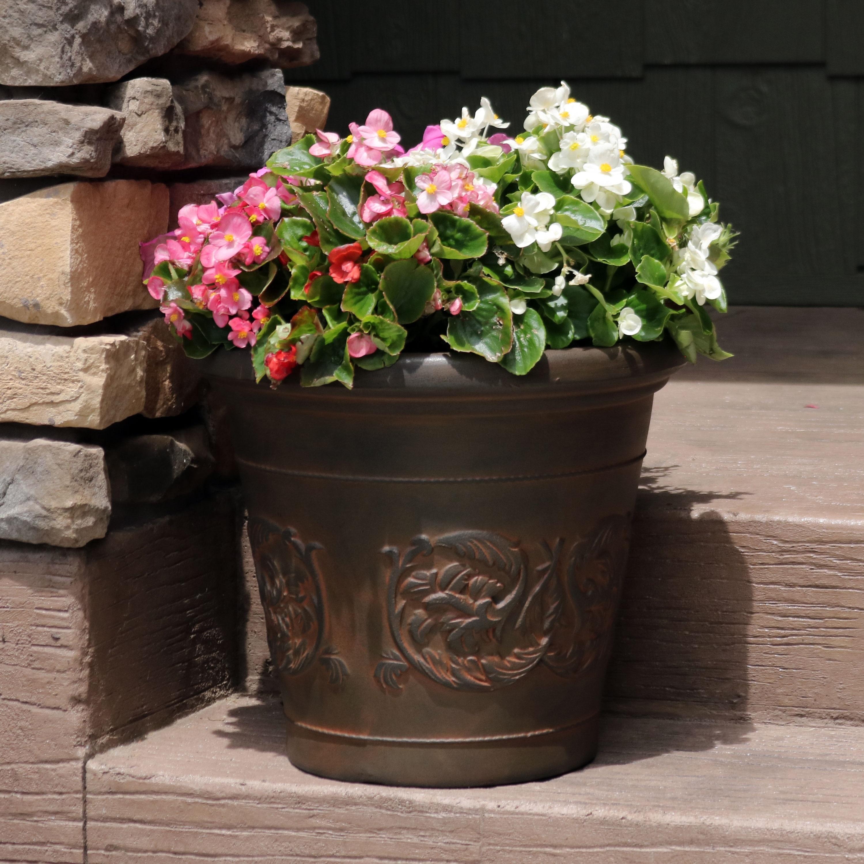 Shop Sunnydaze Arabella Outdoor Double Walled Flower Pot Planter