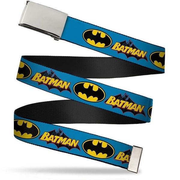 Blank Chrome Buckle Vintage Batman Logo & Bat Signal Blue Webbing Web Belt