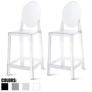"""Set of 2 Modern 25"""" Seat Counter Height Stool With Oval Backs Plastic Molded High Chairs For Dining Patio Kitchen Crystal Garden"""