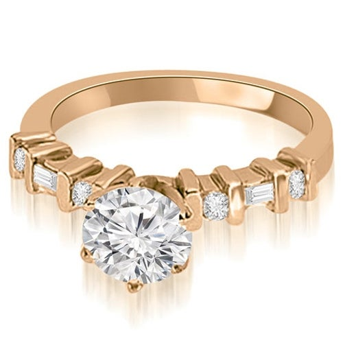 0.70 cttw. 14K Rose Gold Round and Baguette Diamond Engagement Ring