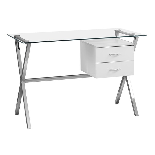 Wondrous Monarch Specialties I 7215 48 Inch Wide Glass Top Metal Computer Desk White N A Home Interior And Landscaping Dextoversignezvosmurscom