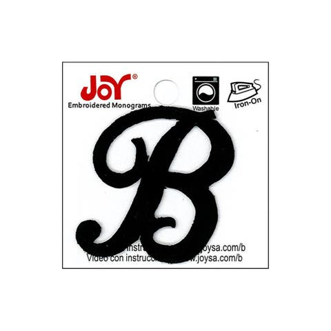 "Joy Applique Letter Iron On Script 1.5"" Black B"