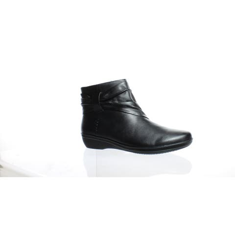 af917a23f33c Clarks Womens Everlay Mandy Black Leather Ankle Boots Size 5